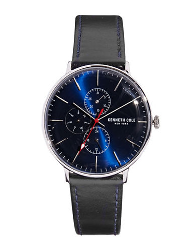 Kenneth Cole New York Stainless Steel Leather Strap Chronograph Watch-BLUE-One Size