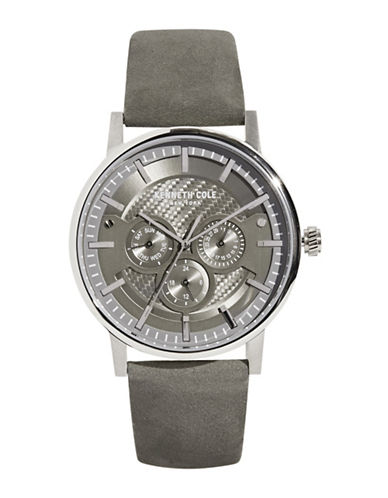Kenneth Cole New York Stainless Steel Leather Strap Chronograph Watch-GREY-One Size