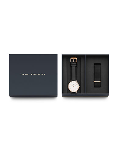Daniel Wellington Holiday Gifts for Everyone Goldtone Stainless Steel Leather and Interchangeable Strap Watch Set-BLACK-One Size