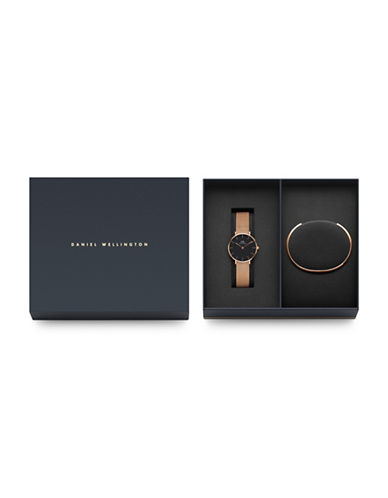 Daniel Wellington Holiday Gifts for Everyone Goldtone Stainless Steel Leather and Bracelet Watch Set-ROSE-One Size