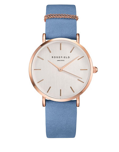 Rosefield West Village Blue and Rose Goldtone Watch-BLUE-One Size