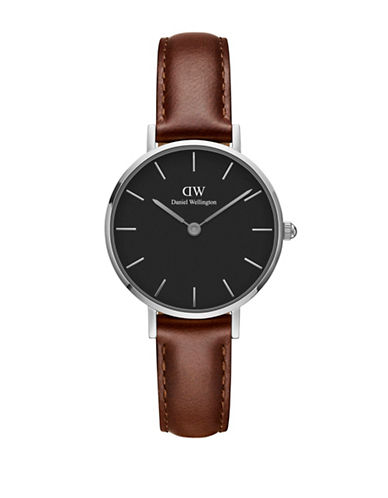 Daniel Wellington Classic Petite St Mawes Analog Leather Watch-BROWN-One Size