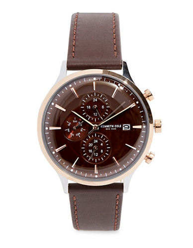 Kenneth Cole New York Chronograph Stainless Steel and Leather-Strap Watch-BROWN-One Size