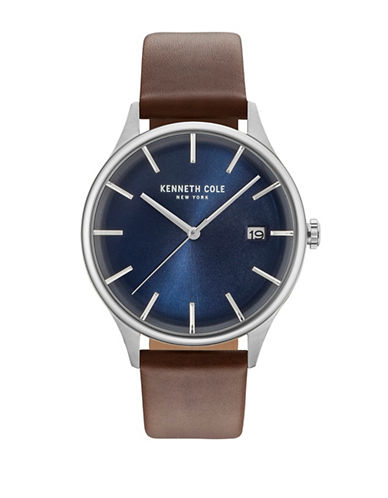 Kenneth Cole New York Stainless Steel Leather-Strap Analog Watch-BROWN-One Size