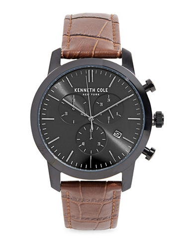 Kenneth Cole New York Stainless Steel Quartz Analog Leather Strap Watch-BROWN-One Size