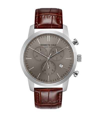 Kenneth Cole New York Multifunctional KC50053002 Leather Analog Watch-BROWN-One Size