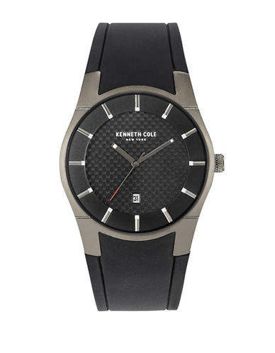 Kenneth Cole New York Woven Dial Analog Watch-BLACK-One Size