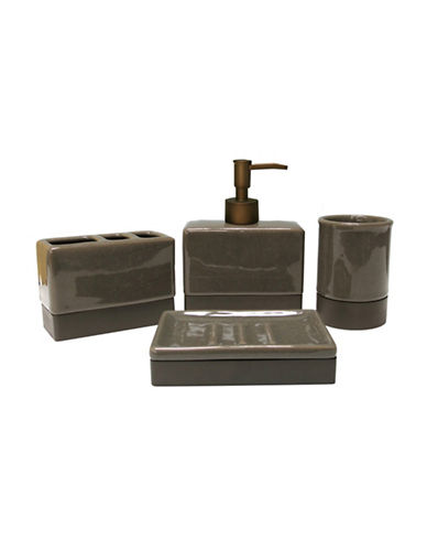 Mon Tex Four-Piece Crackle Ceramic Bath Set-BROWN-One Size