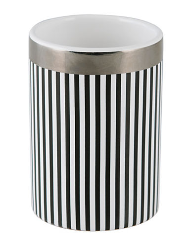 Mon Tex Derby Striped Ceramic Tumbler-BLACK/WHITE-One Size