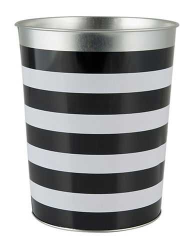 Mon Tex Derby Striped Waste Basket-BLACK/WHITE-One Size