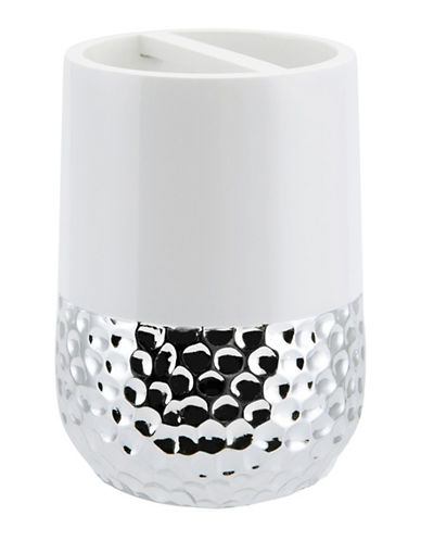 Mon Tex Titus Ceramic & Silver Toothbrush Holder-WHITE/SILVER-One Size