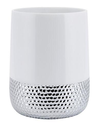 Mon Tex Titus Ceramic & Silver Wastebasket-WHITE/SILVER-One Size