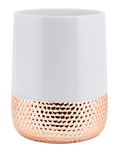 Mon Tex Titus Ceramic & Rose Gold Wastebasket-WHITE/ROSE GOLD-One Size