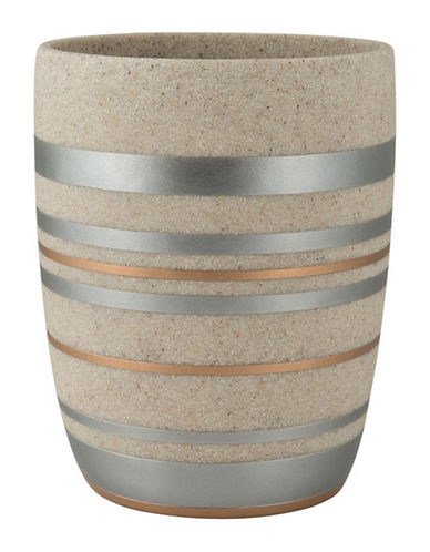 Mon Tex Metallic Striped Wastebasket-MULTI-One Size