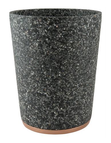 Mon Tex Marble Effect Wastebasket-BLACK-One Size