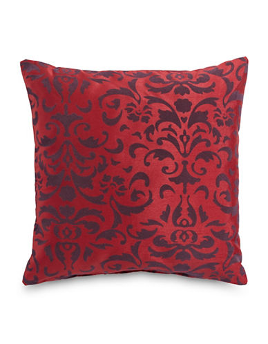 Home Outfitters Anna Flocked Cushion-RED-One Size
