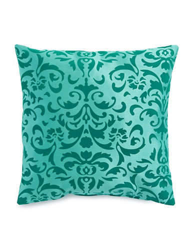Home Outfitters Anna Flocked Cushion-BLUE-One Size