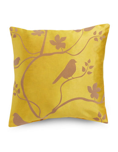 Home Outfitters Adaire Flocked Square Cushion-YELLOW-One Size