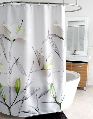 Splash Lilies Fabric Shower Curtain-WHITE-One Size