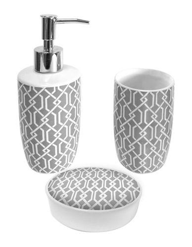 Splash Celtic Grey Three-Piece Ceramic Bathroom Accessory Set-GREY-One Size