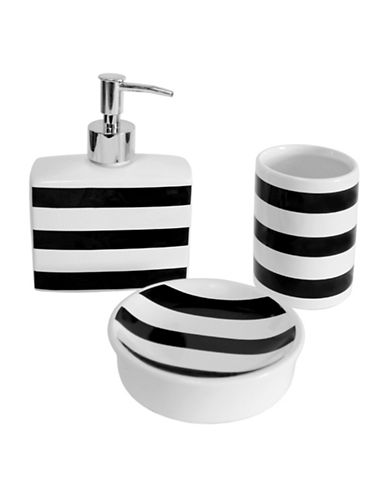 Splash Sailor Stripe Three-Piece Ceramic Bathroom Accessory Set-BLACK-One Size