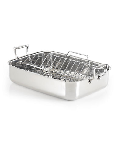 Lagostina 18/10 Stainless Steel Roasting Pan with Rack-SILVER-One Size