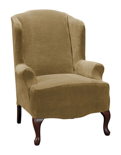 Sure Fit Hanover One-Piece Stretch Wing Chair-CAMEL-One Size