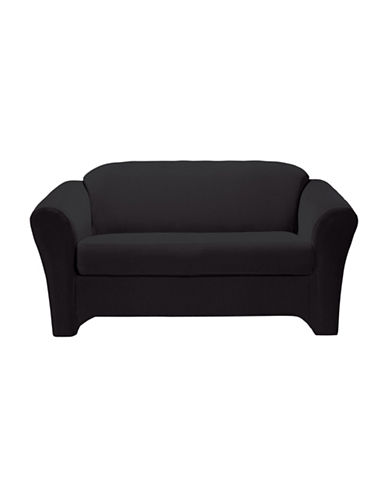 Sure Fit Eastwood Two-Piece  Stretch Loveseat Slipcover-BLACK-One Size