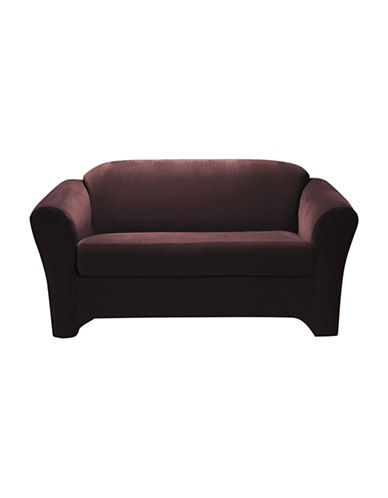 Sure Fit Eastwood Two-Piece  Stretch Loveseat Slipcover-WINE-One Size