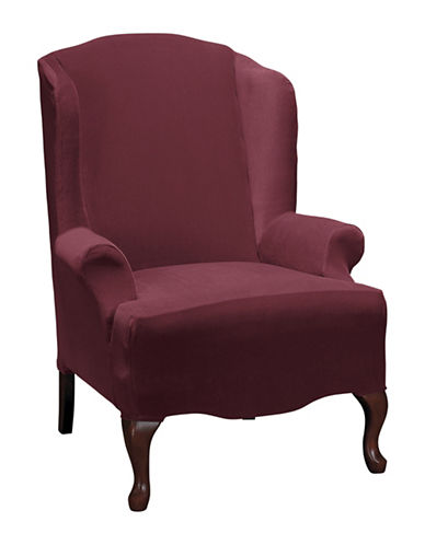 Sure Fit Eastwood One-Piece Stretch Wing Chair Slipcover-WINE-One Size