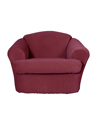 Sure Fit Spencer Two-Piece Stretch Chair Slipcover-WINE-One Size