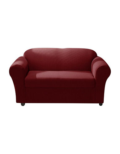 Sure Fit Spencer Two-Piece Stretch Loveseat Slipcover-WINE-One Size