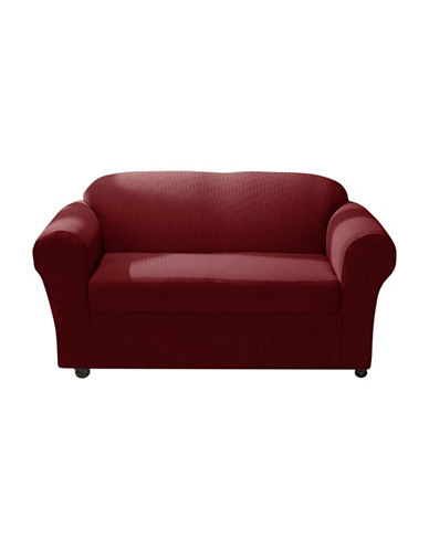 Sure Fit Spencer Two-Piece Stretch Sofa Slipcover-WINE-One Size
