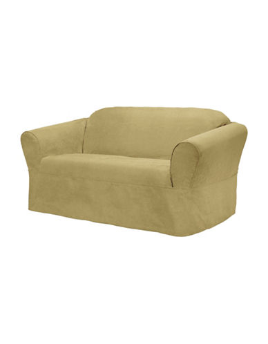 Sure Fit Surefit Bruce Suede One-Piece Loveseat Slipcover-GOLD-One Size