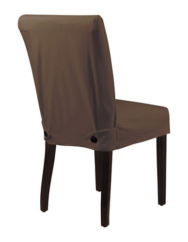 Sure Fit Twill Shorty Dining Chair Slipcover-CHOCOLATE-One Size