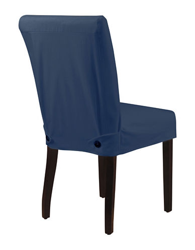 Sure Fit Twill Shorty Dining Chair Slipcover-NAVY-One Size
