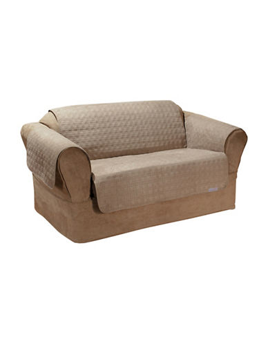 Sure Fit QuickCover Studio Size Quilted Microsuede Loveseat Protector-BISCUIT-One Size