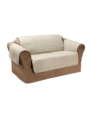 Sure Fit QuickCover Studio Size Quilted Microsuede Loveseat Protector-BONE-One Size
