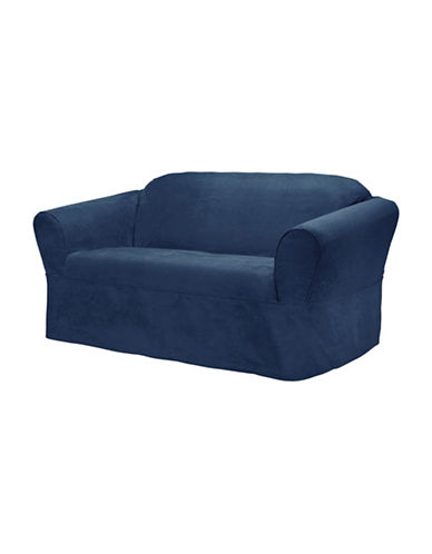 Sure Fit Surefit Bruce Suede One-Piece Loveseat Slipcover-NAVY-One Size