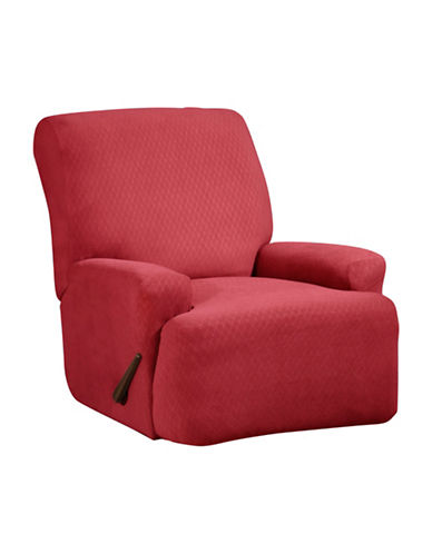 Sure Fit Surefit Diamond Stretch Four-Piece Recliner Slipcover-CRIMSON-One Size