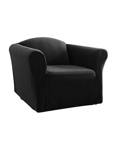 Sure Fit One-Piece Stretch Velvet Chair Slipcover-BLACK-One Size