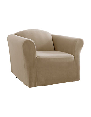 Sure Fit One-Piece Stretch Velvet Chair Slipcover-MINK-One Size
