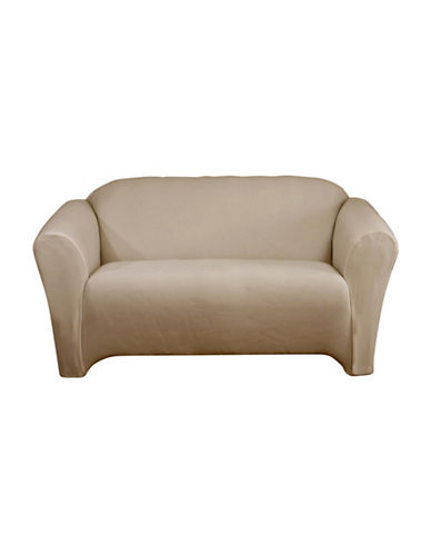 Sure Fit One-Piece Stretch Velvet Loveseat Slipcover-MINK-One Size