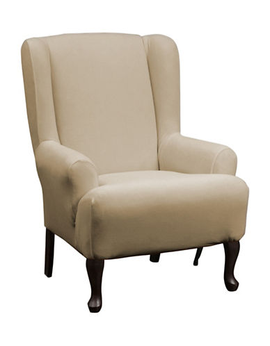 Sure Fit Stretch One-Piece Wing Chair Slipcover-MINK-One Size
