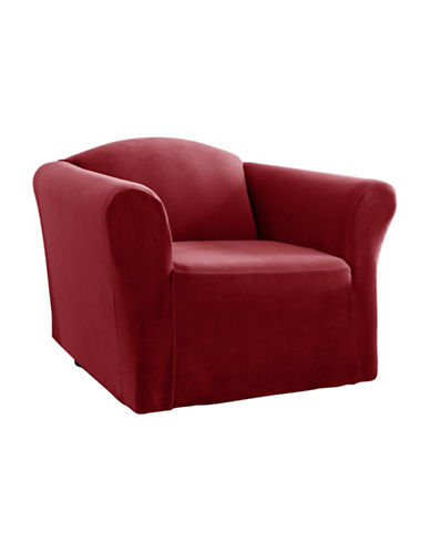 Sure Fit One-Piece Stretch Velvet Chair Slipcover-CRIMSON-One Size