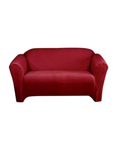 Sure Fit One-Piece Stretch Velvet Sofa Slipcover-CRIMSON-One Size