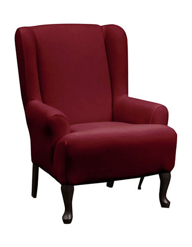 Sure Fit Stretch One-Piece Wing Chair Slipcover-CRIMSON-One Size