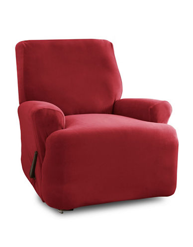 Sure Fit One-Piece Stretch Velvet Recliner Slipcover-CRIMSON-One Size