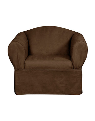 Sure Fit Luxury Suede One-Piece Relaxed Fit Chair Slipcover-CHOCOLATE-One Size