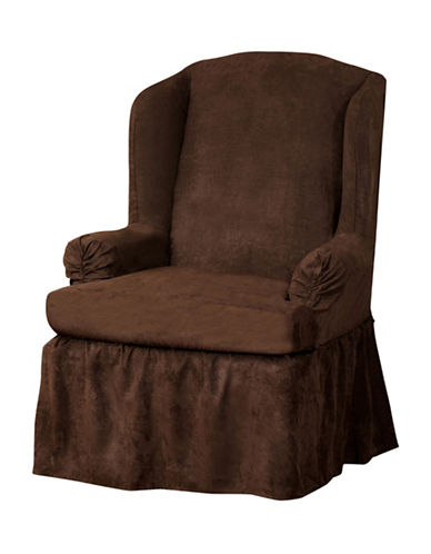 Sure Fit Luxury Suede One-Piece Relaxed Fit Wing Chair Slipcover-CHOCOLATE-One Size